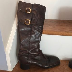 Shoes - Vintage Brown leather boots with gold buckles.